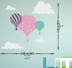 Hot air balloon with clouds wall sticker decal by ValdonImages