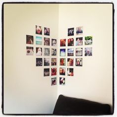 Idea for photo arrangement.  Just get your Instagram photos printed on photobox.com and arrange how ever you like.