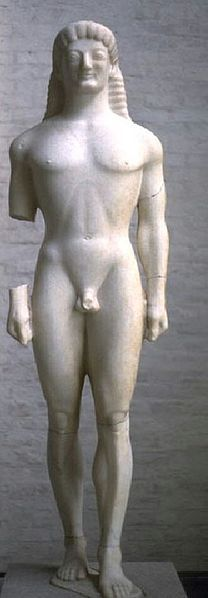 """So called """"Apollo (or Kouros) of Tenea"""", corinthian kouros with the archaic smile, ca. Found in 1846 in the ancient cemetery of Tenea miles from Corinth). Ancient Greek Sculpture, Ancient Art, Millenium, Ancient Beauty, Corinthian, Ancient Greece, Figure Drawing, Art History, Tent"""