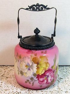 Antique Biscuit Jar Has Larger Than Life Sized Pansies