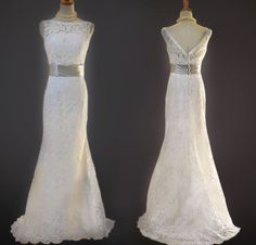 Custom made vintage a-line lace wedding dress, by wonderxue
