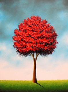 Art Print of Red Tree Painting, Original Tree Artwork, Whimsical Art Giclee Print of Oil Painting, Contemporary Wall Decor, 5x7, 8x10, 18x24 by BingArt on Etsy