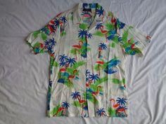 VINTAGE FRANK FLAMINGO TROPICAL VIBRANT SHIRT TOURIST COOL RETRO MEN'S L HAWAII #FRANK #HAWAIIANORTOURISTTROPICALFLORIDASTYLED