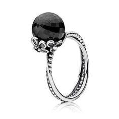 Pandora Forever Bloom Black Spinel Ring