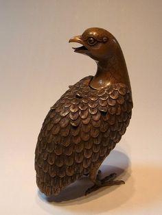 Japanese bronze quail shaped incense burner by Kamejo