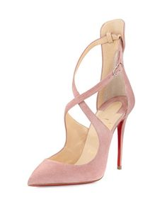 Marlenarock Crisscross Suede Red Sole Pump, Nude by Christian Louboutin at Neiman Marcus.