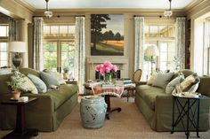 Dark Green Living Room Sofa Sets