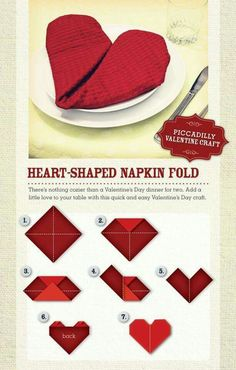 When making a Valentine table, fold your napkin into a heart. Valentine Home Dec.When making a Valentine table, fold your napkin into a heart. Valentine Home Decor Ideas on Frugal Coupon Living. Valentines Day Dinner, Valentine Special, Valentines Day Decorations, Valentine Day Crafts, Valentine Day Table Decorations, Valentines Ideas For Boyfriend, Valentines Day Tablescapes, Romantic Valentines Day Ideas, Valentines Hearts