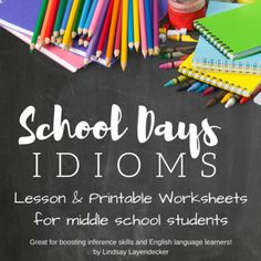 """Idiomatic language is every where - let's help our students conquer it! Show them how to use inference skills to decipher phrases that we use every day. Teach them how to express their thoughts with 20 school-inspired idioms. Lesson Includes: - 2 printable direction/definition sheets - 2 handout activity with fill in the blanks and illustration activity - answer key and extension ideasYour students will be """"eager beavers"""" and will """"hit the books"""" once you buy this lesson ."""