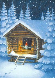 Tomte in stuga Swedish Christmas, Noel Christmas, Scandinavian Christmas, David The Gnome, Yule Goat, Baumgarten, Legends And Myths, Gnome House, Winter Art