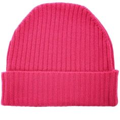 Orwell + Austen Cashmere - Cashmere Beanie in Bright Pink ($52) ❤ liked on Polyvore featuring accessories, hats, beanie, beanie cap hat, cashmere beanie, beanie caps, long beanie and ribbed beanie
