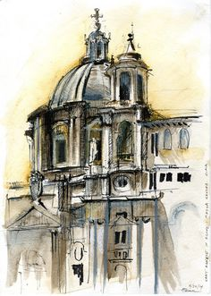 Sant' Anges in Piazza Navona, Rome. Drawing by Amber Primm.