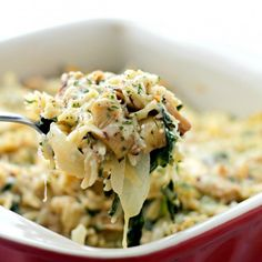 Delicious vegetarian casserole with Spinach, Artichokes and Orzo mixed in a lightened-up Alfredo Sauce.