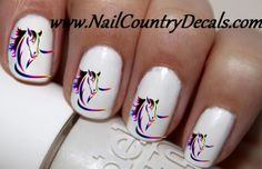 50p Muit Color Horse Rainbow Horse Head Nail Decals Nail Art Nail Stickers Best Price NC48