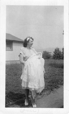 Photograph Snapshot Vintage Black and White Mom Holding Baby Newborn 1950'S | eBay