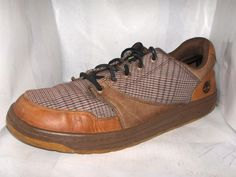 TIMBERLAND MENS COGNAC LEATHER/PLAID FASHION SNEAKERS SIZE 11 M  #Timberland #AthleticSneakers