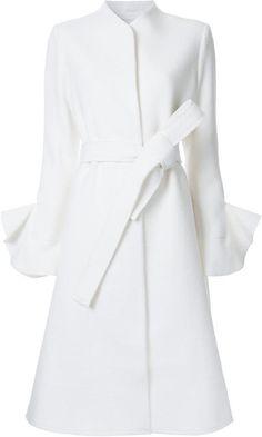 goenj concealed fastening belted coat