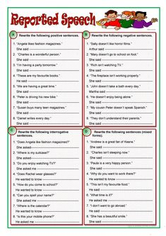 A collection of English ESL Reported Speech (Indirect speech), Upper-intermediate worksheets for home learning, online practice, distance learning and E. Basic Grammar, Teaching English Grammar, English Grammar Worksheets, Grammar Exercises, English Exercises, Grammar Practice, Grammar Lessons, Grammar Quiz, Grammar Rules