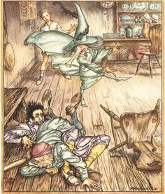 Arthur Rackham King Of The Golden River So There They Lay All Three
