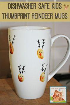 dishwasher safe kids thumbprint reindeer mugs