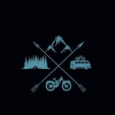"'Nomad' by tabemisa use tent/tree deign for ""Milltown, bikes, coffee, & adventure"" shirt Bicycle Tattoo, Bike Tattoos, Motorcycle Tattoos, Bicycle Art, Body Art Tattoos, Tatoos, Logo Velo, Bike Logo, Montain Bike"