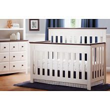 Delta Chalet 4-in-1 Convertible Crib - White Ambiance/Dark Chocolate (400) for a boy? converts to all crib sizes