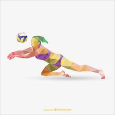 Free Colorful Low-Poly Sport Illustration Templates (AI & EPS) - Best of Wallpapers for Andriod and ios Beach Volleyball, Volleyball Quotes, Coaching Volleyball, Volleyball Pictures, Volleyball Players, Volleyball Ideas, Sports Day Poster, Volleyball Drawing, Volleyball Wallpaper