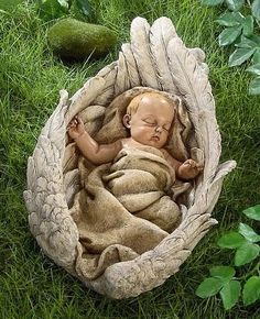 Angel baby- a very good friend of ours got us this exact statue after the loss… Angel Garden Statues, Garden Angels, Statue Ange, Baby Engel, Angel Guidance, Little Buddha, I Believe In Angels, Cemetery Art, Angel Pictures