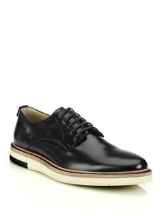 Fendi Leather Lace-Up Hunting Shoes in Black for Men | Lyst