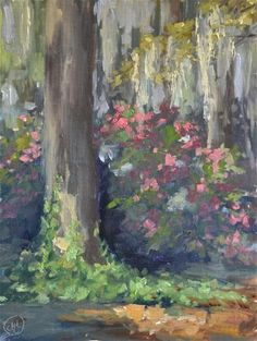 "Daily+Paintworks+-+""ivy+and+azaleas""+-+Original+Fine+Art+for+Sale+-+©+Dottie++T++Leatherwood"