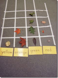 {leaf graph} all sorts of leaf lessons @ the site. (Use this for Garden, Halloween week) Forest School Activities, Classroom Activities, Learning Activities, Teaching Ideas, Teaching Kindergarten, Eyfs Classroom, Teaching Art, Physical Activities, Kids Crafts