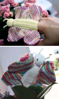 Free Knitting Pattern for Butterfly Finger Puppet - This butterfly is fast knit, fits over the finger, and uses fingering weight yarn. Designed byChemKnits. Pictured projects bymamamartinho