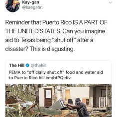 All the sucky parts of being part of the US without the rights of being designated a state. If it wasn't part of the US other countries would be allowed to help them, but we block aid ships when they try to help the US.