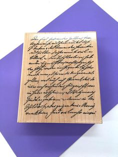 Script Rubber Stamp Handwriting Craft Stamp Penmanship Old