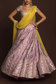 Dusky Orchid gotawork lehenga paired with mirror work blouse (unstitched) and sheer, lime net dupatta. Dress Indian Style, Indian Dresses, Indian Outfits, Indian Wedding Gowns, Pakistani Wedding Outfits, Pakistani Formal Dresses, Mehendi Outfits, Frock Fashion, Designer Bridal Lehenga