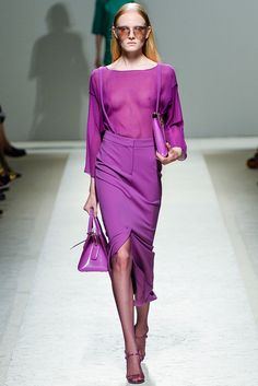 Max Mara Spring 2014 Ready-to-Wear Collection - Vogue Fashion Show, Fashion Outfits, Womens Fashion, Fashion Design, Max Mara, Milano Fashion Week, Milan Fashion, Purple Fashion, Silk Skirt