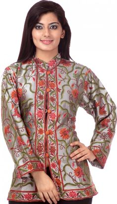 Metallic-Gray Jacket from Kashmir with All-Over Embroidered Flowers by Hand