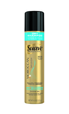 Suave Professionals Moroccan Infusion Weightless Dry Shampoo. Salon-proven to refresh as well as Oscar Blondi® Pronto Our Moroccan Infusion Dry Shampoo is a quick and convenient way to refresh and revive your hair between regular washes. Gently absorbs oils to: - Refresh hair - Keep hair feeling weightless - Leave hair soft