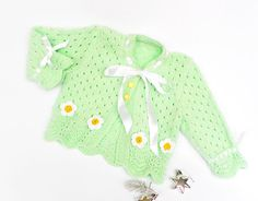 Hand knitted baby cardigan in soft green by Svetlanababyknitting, $45.00    lovee the green hue!