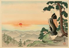 """Life of Holy Priest Nichiren - 6. """"Declaration of New Sect"""" by Tenrei Horiuchi. Rencho (later Nichiren) declared the new Buddhist sect while he was watching the rising sun from a forest on Mt. Kiyosumi. It was April 28th, 1253. He worried and lamented the orderless society and determined to spread the true spirit of the Buddhist bible, Hokkekyo (the Lotus Sutra)."""