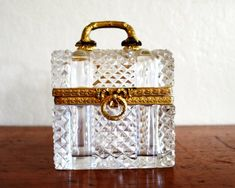 Antique Cut Crystal Casket Trinket Box Possibly Baccarat Etsy Vintage, Vintage Items, Crystal Box, Diamond Point, Circa, Bronze, Glass Figurines, Cut, Casket
