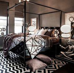 Dramatic black contemporary bedroom