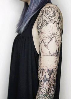 Mountain and floral black & white sleeve tattoo