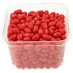 Jelly Belly Red Apple jelly beans in a clear. re-sealable bulk tub with lid. Portable and convenient size for candy. Made with real apple juice. Fruity
