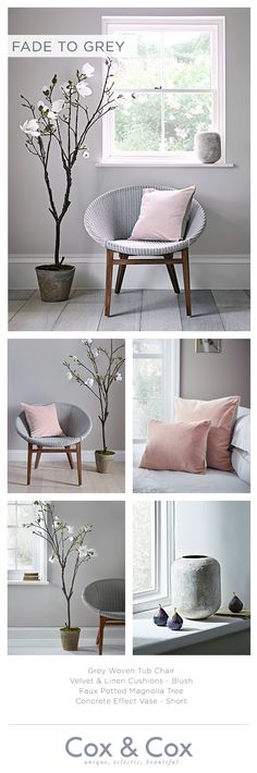 Find a corner of calm in your home with soothing grey tones, framed by our Faux Potted Magnolia tree and accented with feminine blush.