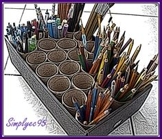 Recycle tissue rolls as pen, pencil and paint brush holders