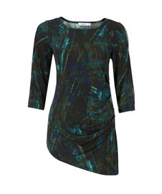 Sleeve Cut-out Asymmetric TunicSleeve Cut-out Asymmetric Tunic, Teal/Jade Print