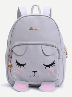 SheIn offers Grey Cat Face Design Cute Backpack & more to fit your fashionable needs. Cute Mini Backpacks, Grey Backpacks, Sac College, Cat Bag, Grey Cats, Girls Bags, Printed Bags, Backpack Bags, Backpack Online
