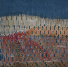 Taiten Shibori – Handwoven wool and silk. Osage orange and logwood / Meadow – 16″ x 16″ Woven, shibori resist, dyed, painted, stitched / Circle Twills –Jacquard wove…