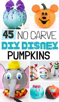 These DIY Disney No Carve Pumpkins are the perfect way for Disney lovers to celebrate the holiday season. Make pumpkin decorating cute and easy again! Disney Halloween Costumes, Theme Halloween, Diy Halloween Decorations, Vintage Halloween, Halloween Pumpkins, Halloween Bags, Halloween Ideas, Pumpkin Decorating Contest, Pumpkin Contest